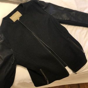 Banana republic black wool/leather shirt jacket